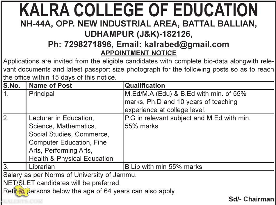 JOBS IN KALRA COLLEGE OF EDUCATION, UDHAMPUR (J&K)