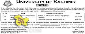 University of Kashmir Assistant Professor interviews Notification