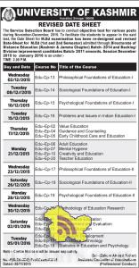 UNIVERSITY OF KASHMIR REVISED DATE SHEET for M.Ed (1st and 2nd Semester)