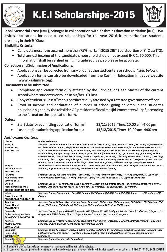 Kashmir Education Initiative (KEI) Scholarship 2015