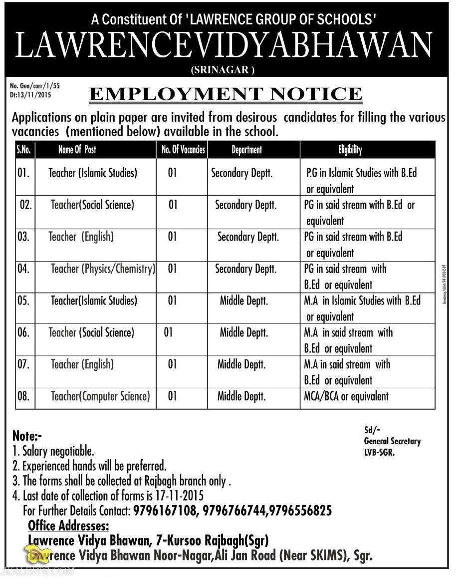 EMPLOYMENT NEWS JOBS IN LAWRENCE VIDYA BHAWAN (SRINAGAR )