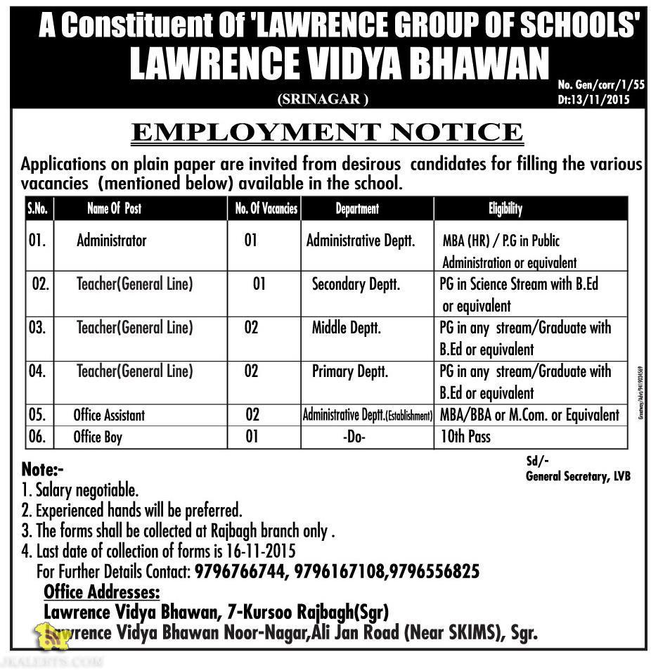 TEACHING NON TEACHING JOBS IN LAWRENCE VIDYA BHAWAN, EMPLOYMENT NEWS