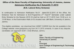 Jammu University Entrance Test for Admission to B.E Programme, lateral entry Scheme