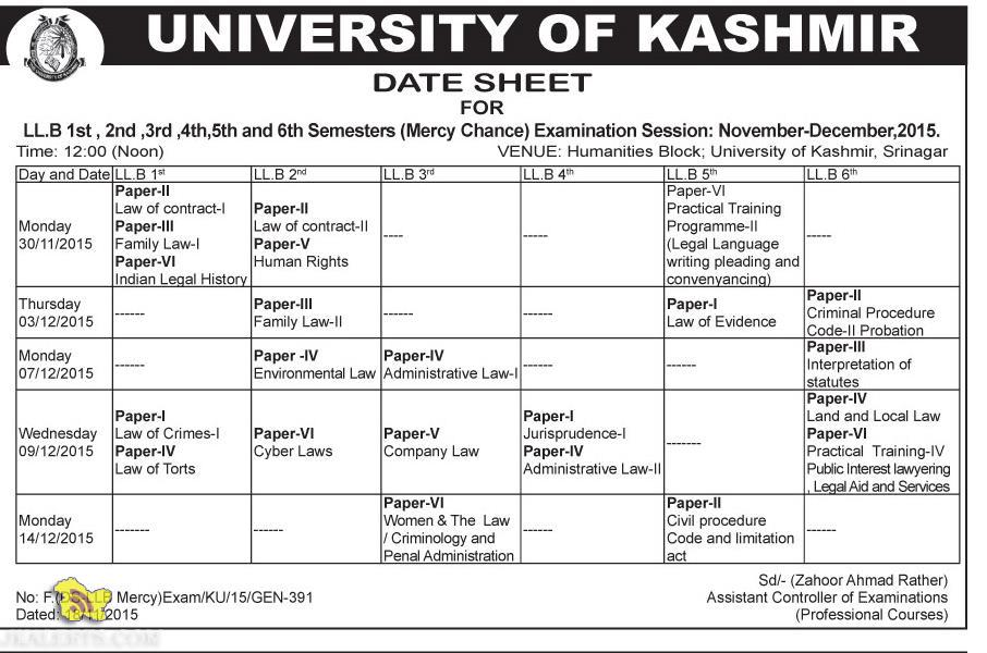 UNIVERSITY OF KASHMIR DATE SHEET FOR LL.B 1st, 2nd ,3rd ,4th,5th and 6th Semesters