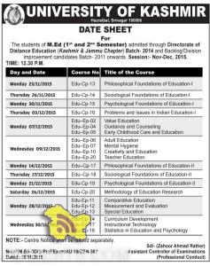 DATE SHEET For The students of M.Ed (1st and 2nd Semester) Kashmir University