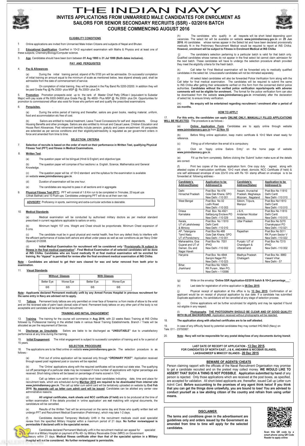 JOIN INDIAN NAVY AS SAILORS FOR SENIOR SECONDARY RECRUITS (SSR)