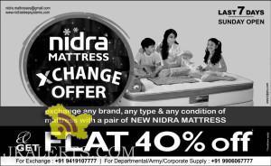 Nidra Mattress Exchange offer Flat 40% off