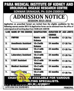 Admission in Para medical Courses in Srinagar