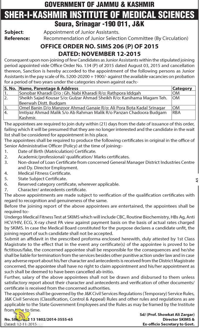Selection list of Junior Assistants in SKIMS
