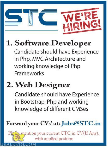 Software Developer, Web Designer jobs in STC Srinagar