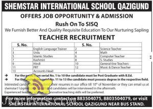 TEACHERS JOBS IN SHEMSTAR INTERNATIONAL SCHOOL QAZIGUND