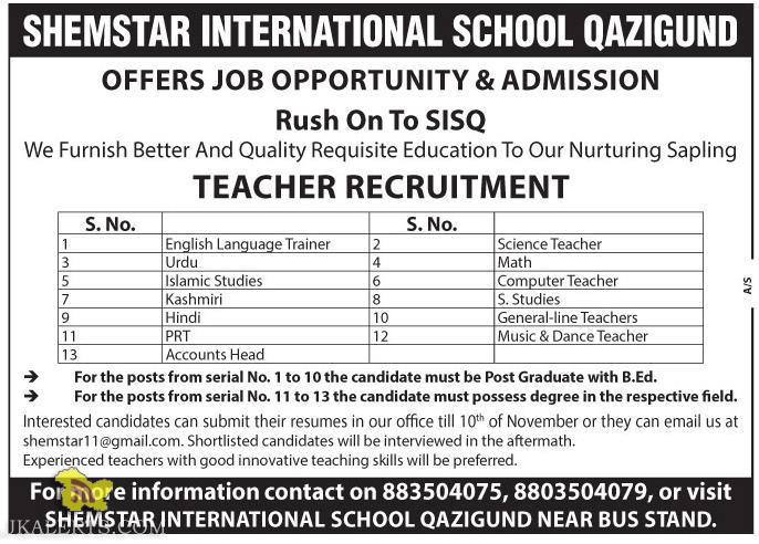 TEACHERS JOBS IN SHEMSTAR INTERNATIONAL SCHOOL QAZIGUND