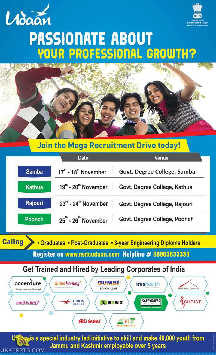 UDAAN Mega Recruitment Drive in Samba, Kathua, Rajouri, Poonch