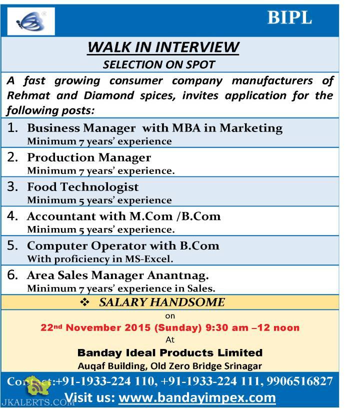 Jobs in Banday Ideal Products Limited, Private jobs in Srinagar