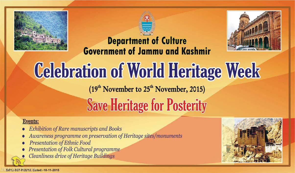 WORLD HERITAGE WEEK CELEBRATION IN J&K, CALENDAR OF EVENTS