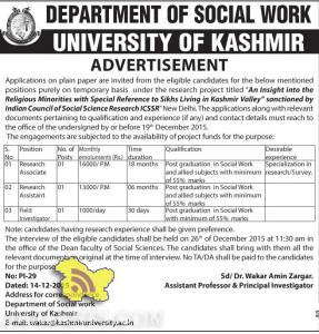 Research Associate, Research Assistant, Field Investigator Jobs in Kashmir University
