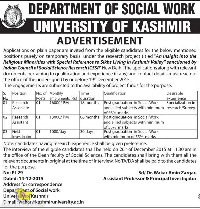 Research Associate, Research Assistant, Field Investigator Jobs in Kashmir University