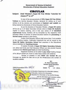 Chief Minister's Super -50 to be set up in various Higher Secondary Schools across Kashmir division.