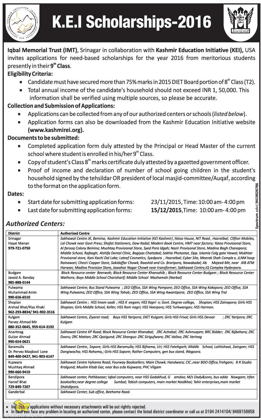 K.E.I Scholarships 2016 Authorized Centers, Eligibility Criteria, Collection and Submission of Applications