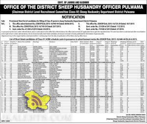 JKPSC Provisional Short list of candidates for filling of Class-IV posts in sheep Husbandary