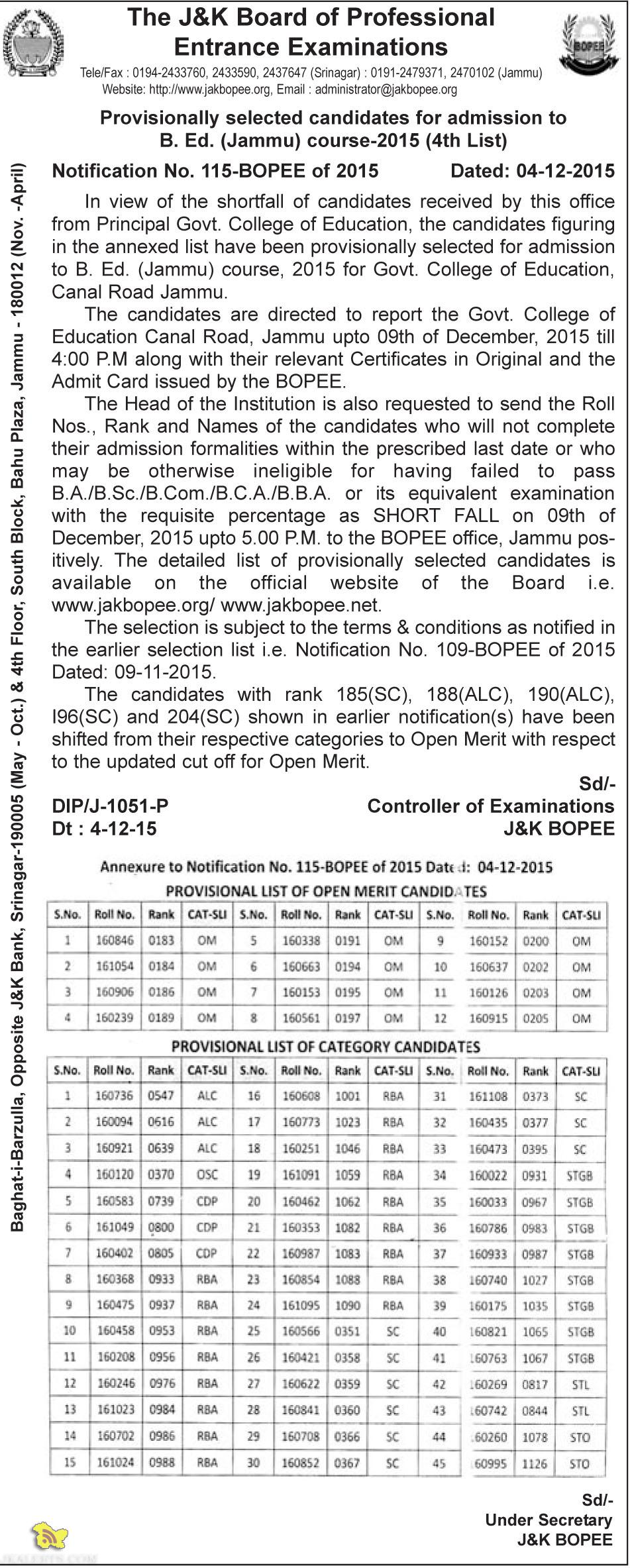 JAKBOPEE Provisionally selected candidates for admission to B. Ed. (Jammu)