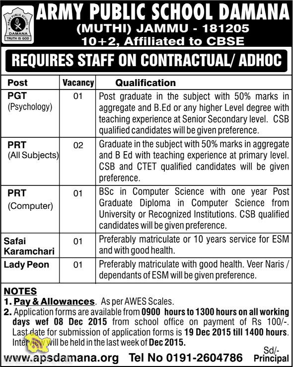 PGT PRT TEACHERS JOBS IN ARMY PUBLIC SCHOOL DAMANA