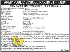 JOBS IN ARMY PUBLIC SCHOOL RAKHMUTHI (J&K)