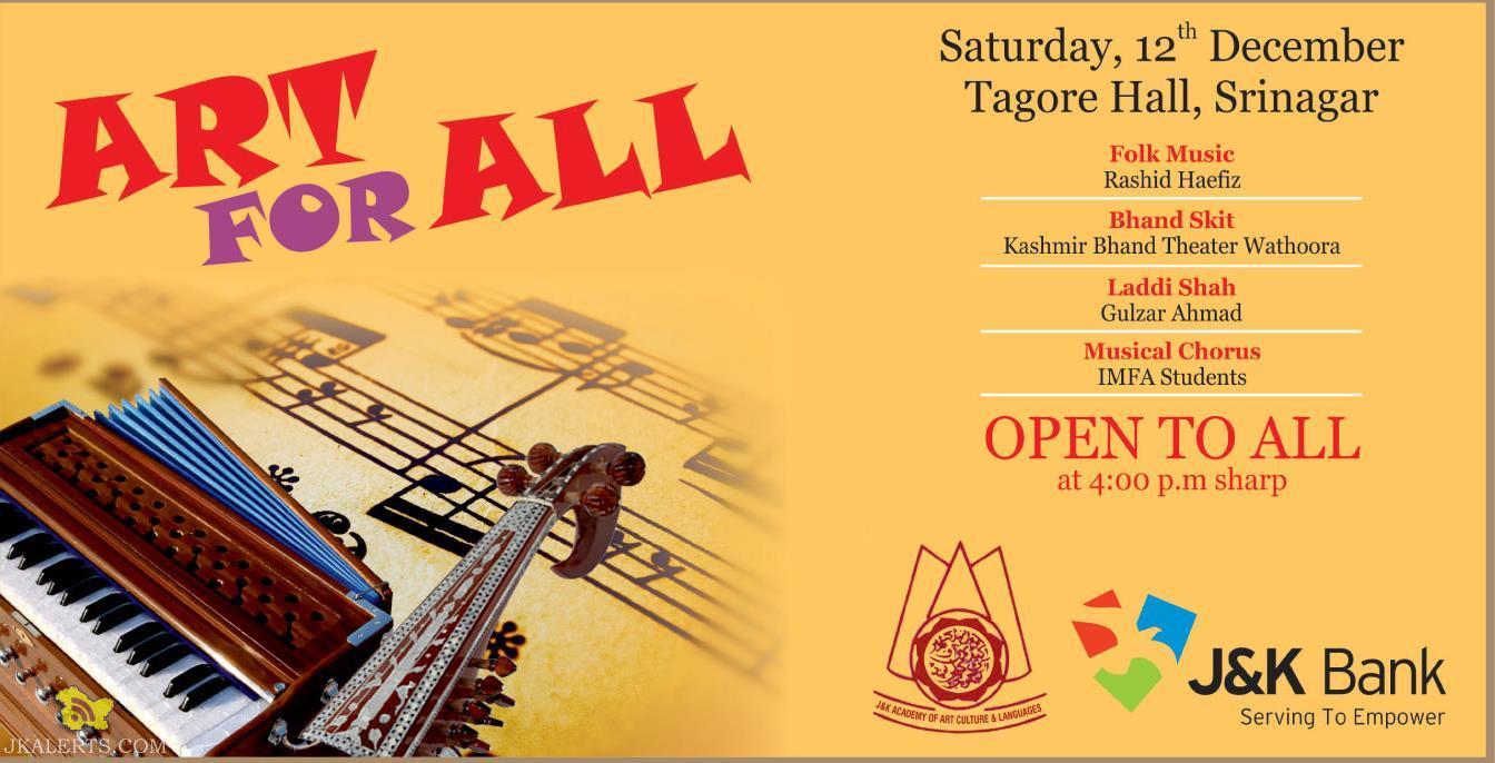 J&k Bank Art for All Tagore Hall, Srinagar