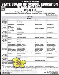 JKBOSE DATE SHEET 12th Class Annual Private Session 2015 Kashmir Division