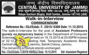 Walk in interview in CENTRAL UNIVERSITY OF JAMMU