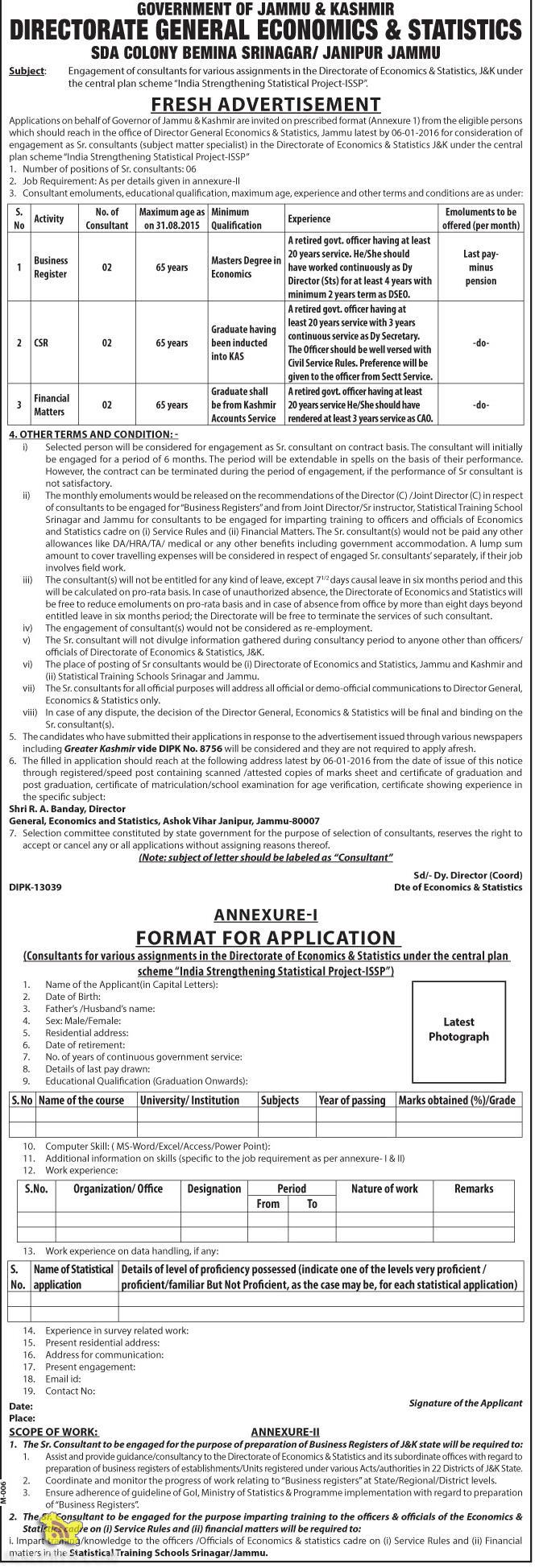 Consultants jobs for various assignments in the Directorate of Economics & Statistics