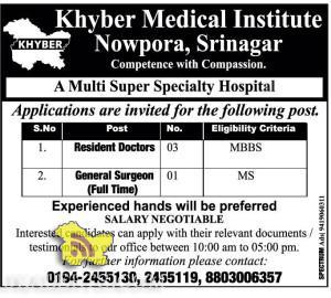 Doctors jobs in Khyber Medical Institute Nowpora, Srinagar