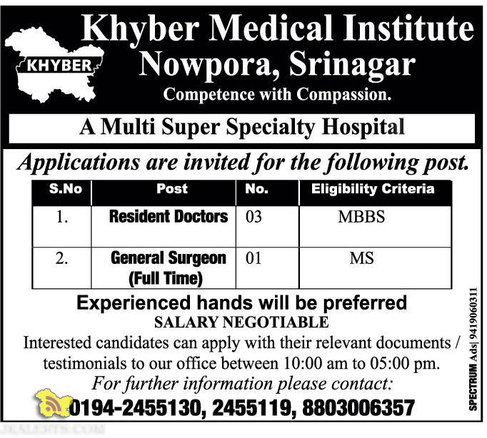 Doctors jobs in Khyber Medical Institute Nowpora, Srinagar
