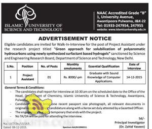 Walk-In-Interview for the post of Project Assistant Islamic University of science and technology
