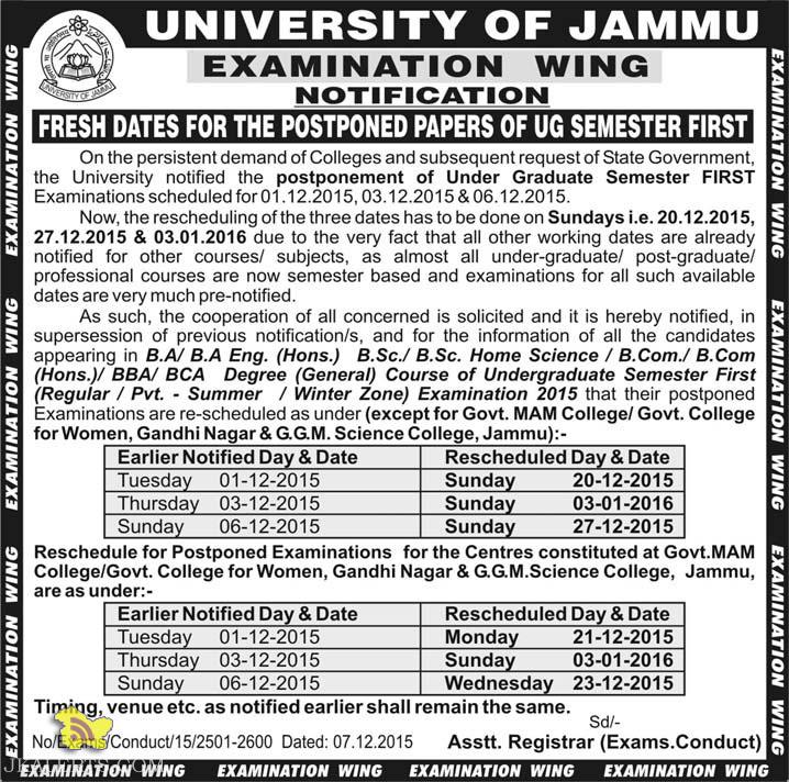 FRESH DATES FOR THE POSTPONED PAPERS OF UG SEMESTER FIRST