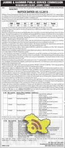 JKPSC Screening test OF ASSISTANT ENGINEER (ELECTRIC) IN POWER DEVELOPMENT