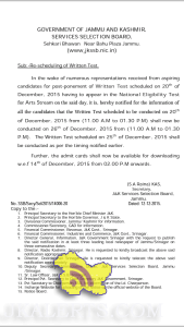 JKSSB post-ponement of Written Test scheduled on 20th of December