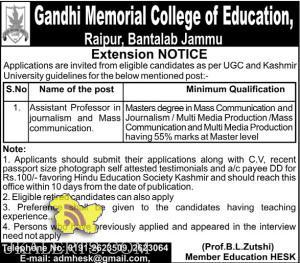 Assistant Professor Gandhi Memorial College of Education, Bantalab Jammu