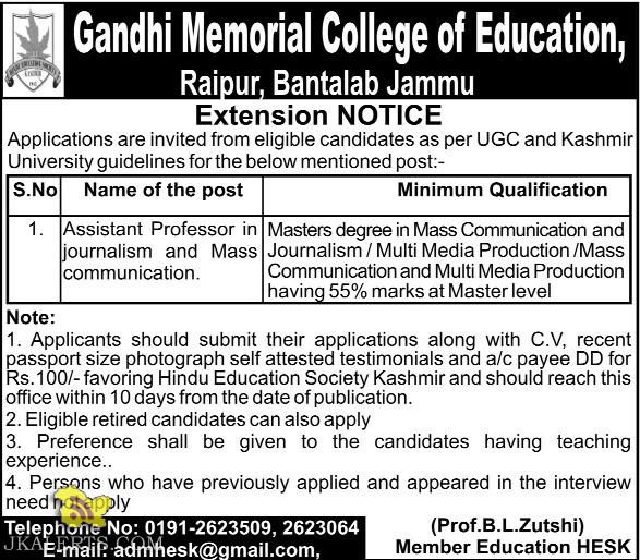 Assistant Professor Gandhi Memorial College of Education, Bantalab Jammu
