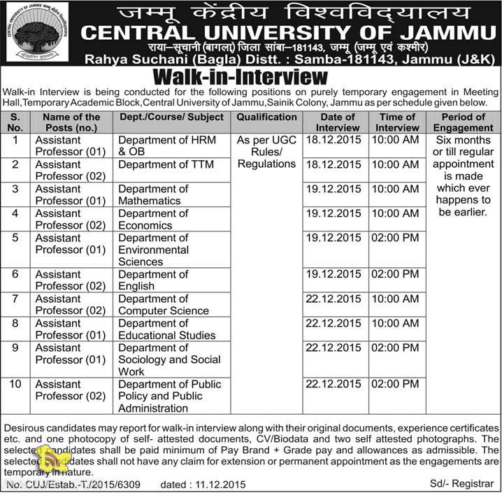ASSISTANT PROFESSOR JOBS IN CENTRAL UNIVERSITY OF JAMMU, RECRUITMENT 2016