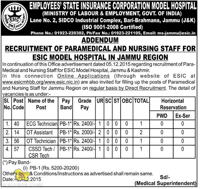 RECRUITMENT OF PARAMEDICAL AND NURSING STAFF FOR ESIC HOSPITAL IN JAMMU REGION
