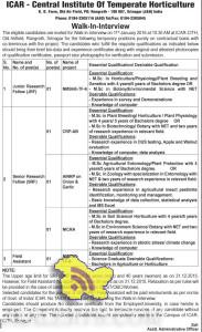 SRF, JRF, Field Assitant jobs in ICAR - Central Institute Of Temperate Horticulture