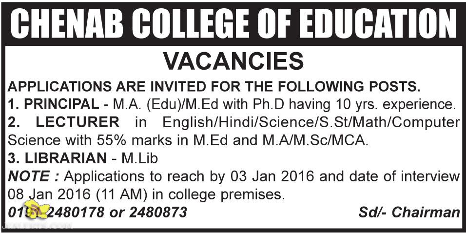 PRINCIPAL, LECTURER, LIBRARIAN JOBS IN CHENAB COLLEGE OF EDUCATION