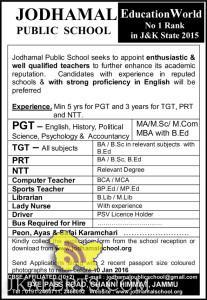 TGT, PRT, NTT, COMPUTER, TEACHER, LIBRARIAN, JOBS IN JODHAMAL PUBLIC SCHOOL