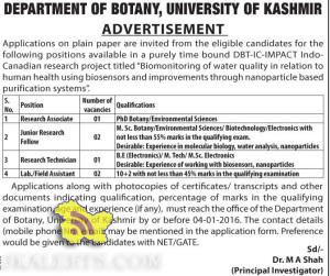 Lab./Field Assistant, Research Technician, JRF, Research Associate Jobs in Kashmir University