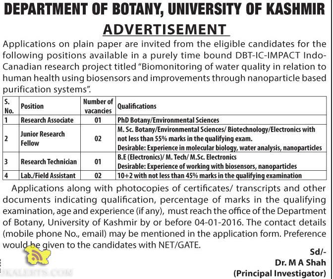 Lab./Field Assistant, Research Technician, JRF, Research Associate Jobs in Kashmir University