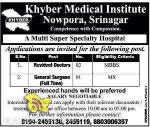 Doctors, Surgeon Jobs in Khyber Medical Institute Nowpora, Srinagar