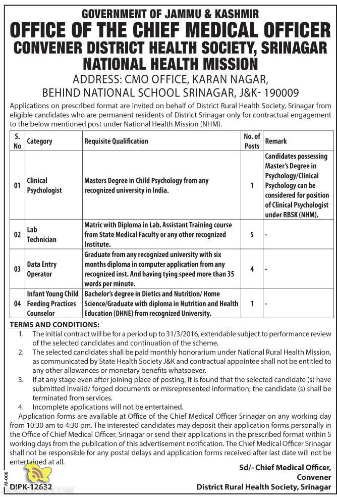 Government jobs in NHM Department Srinagar