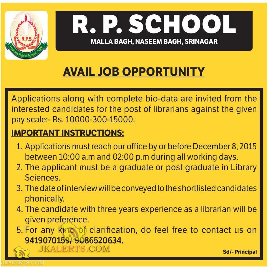 Librarians Jobs in R.P. School srinagar