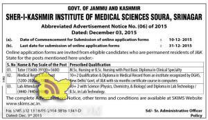 JOBS IN SHER-I-KASHMIR INSTITUTE OF MEDICAL SCIENCES SOURA, SRINAGAR